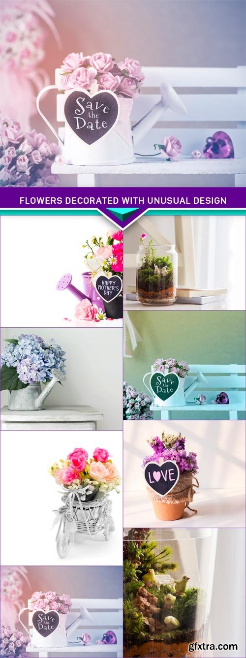 Flowers decorated with unusual design 8X JPEG