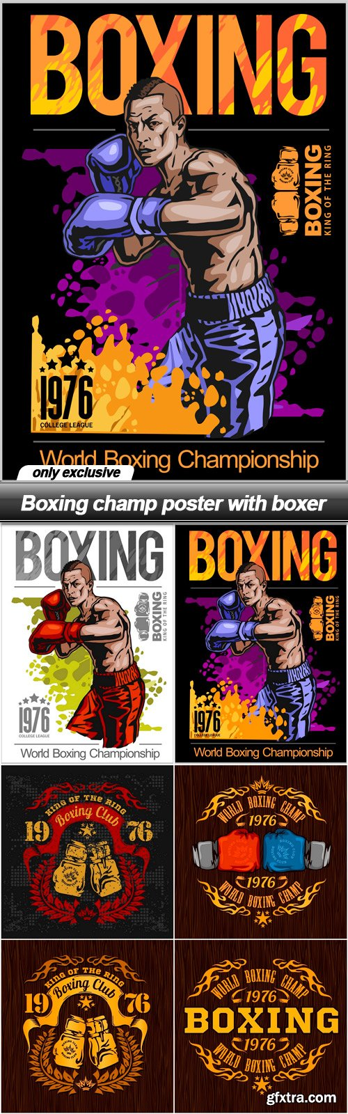 Boxing champ poster with boxer - 6 EPS