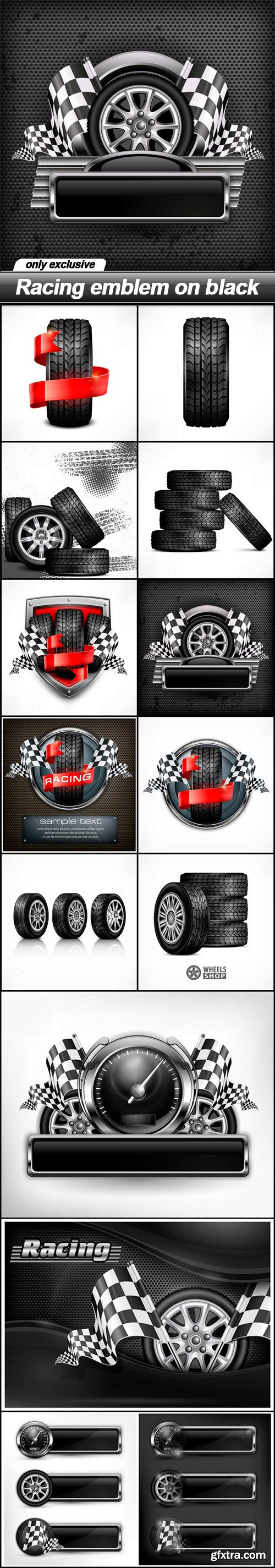 Racing emblem on black - 13 EPS