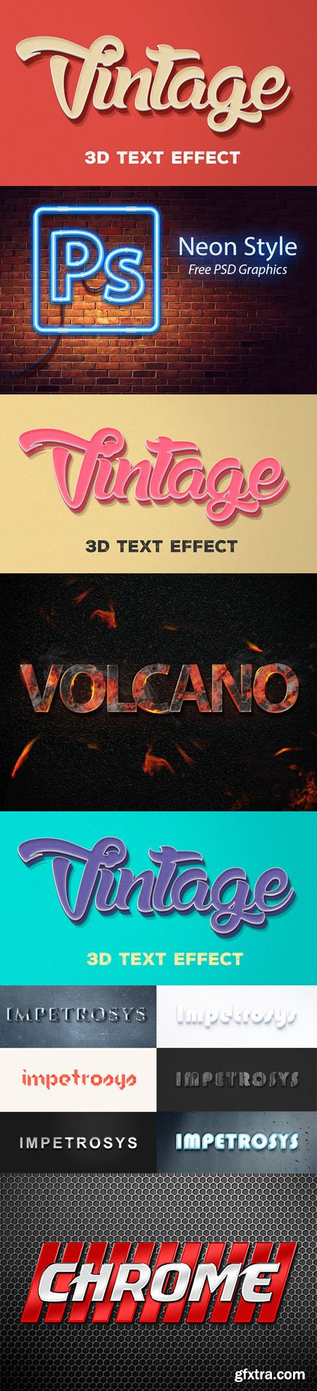 Photoshop Text Effects - Neon, 3D Vintage, Burning, Chrome and others