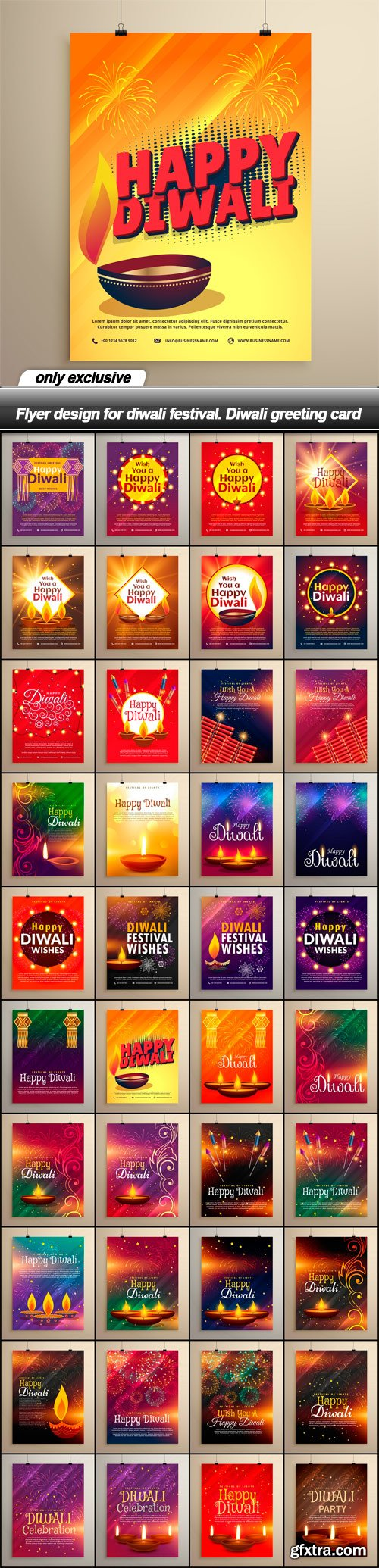 Flyer design for diwali festival. Diwali greeting card - 40 EPS