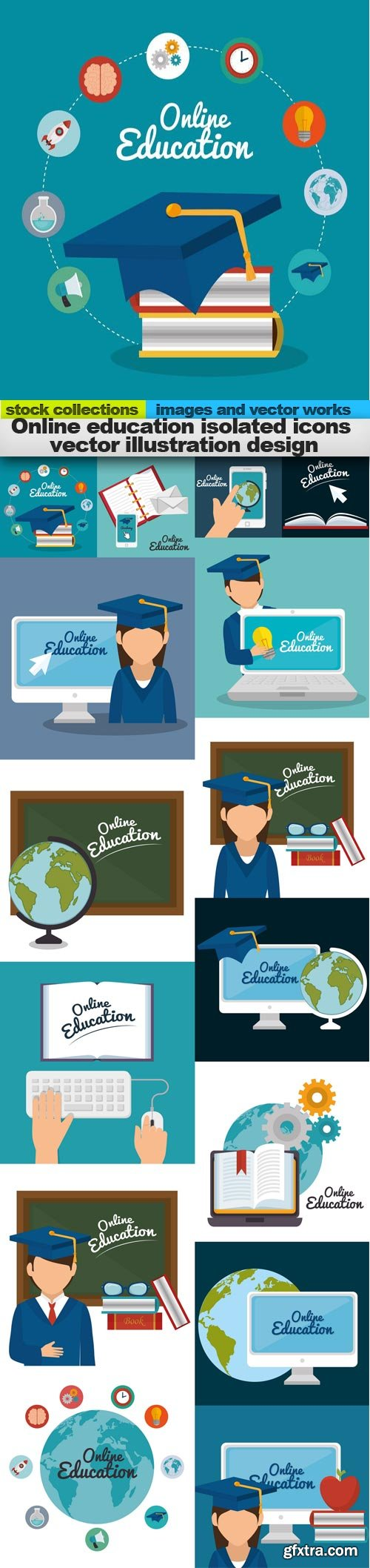 Online education isolated icons vector illustration design, 15 x EPS