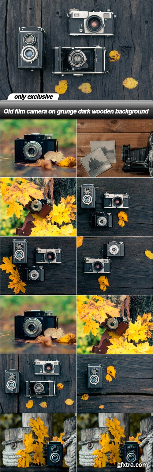 Old film camera on grunge dark wooden background - 12 UHQ JPEG