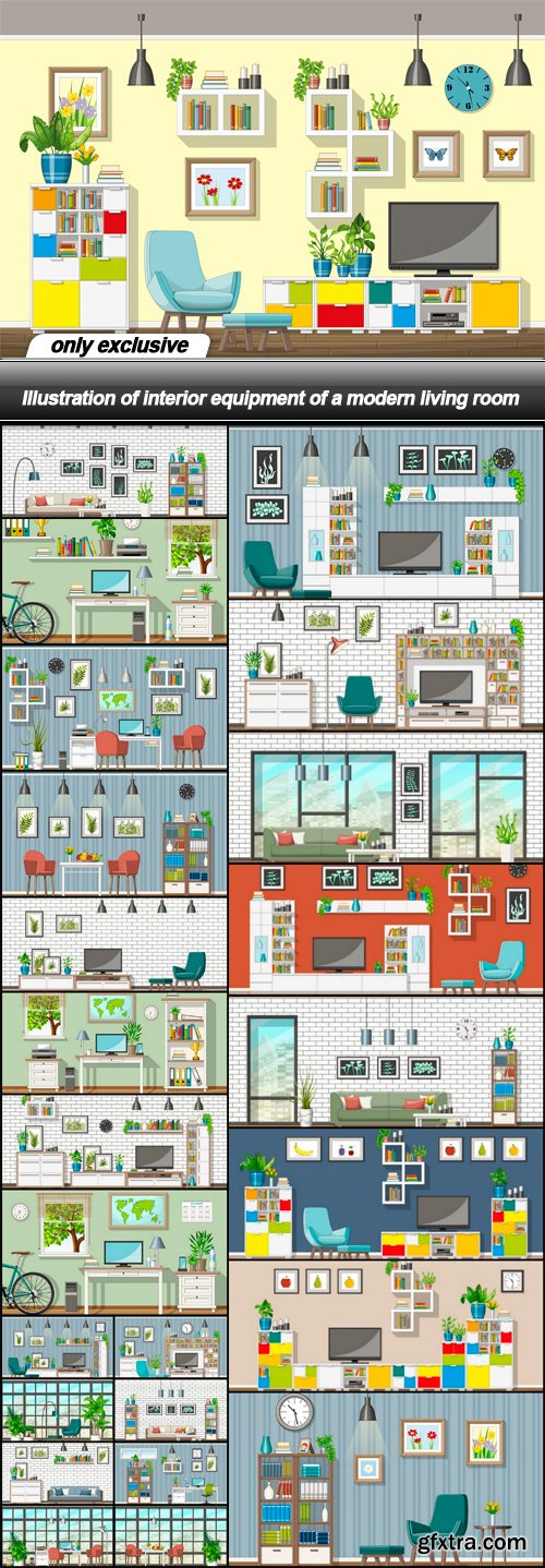 Illustration of interior equipment of a modern living room - 25 EPS