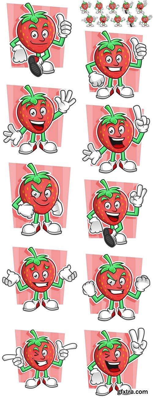 Mascot set of Strawberry. Strawberry character pack. Vector set of Strawberry mascot