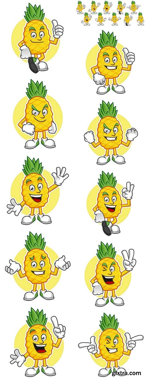 Pineapple mascot pack. Vector set of pineapple characters. Pineapple vector pack