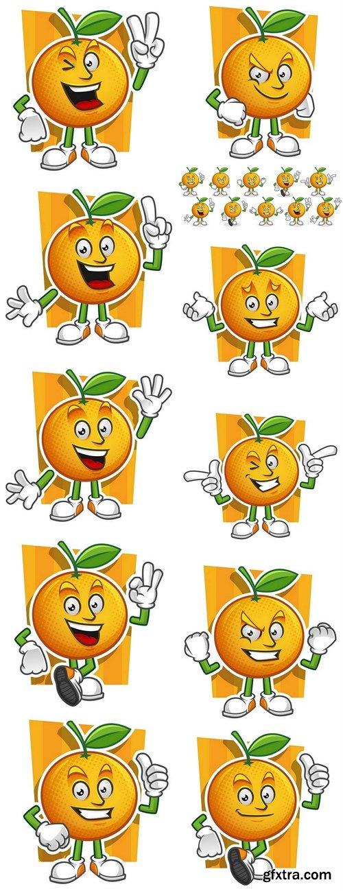 Vector set of Orange mascot. Oranges characters
