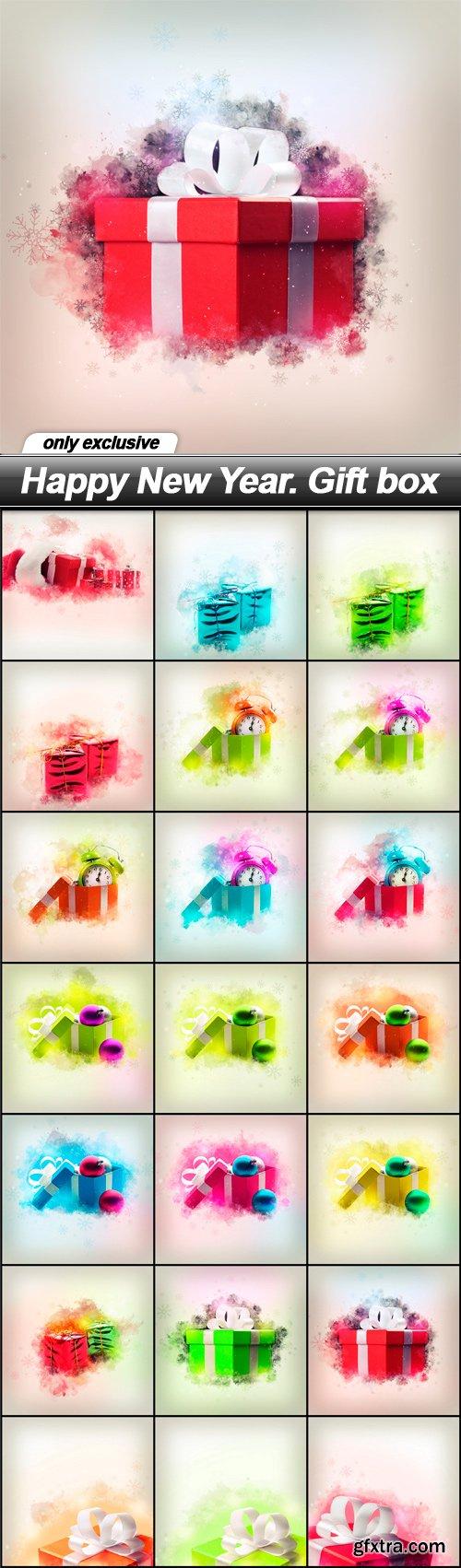 Happy New Year. Gift box - 21 UHQ JPEG