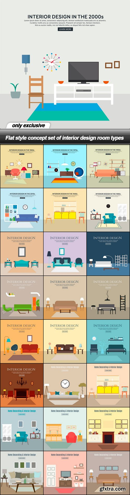 Flat style concept set of interior design room types - 25 EPS