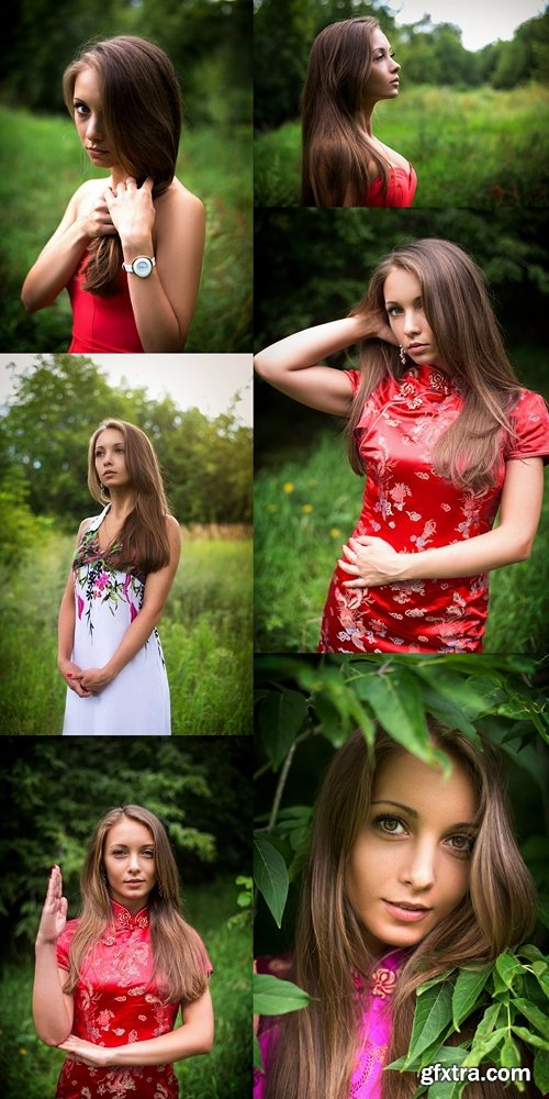 beautiful young girl on the nature