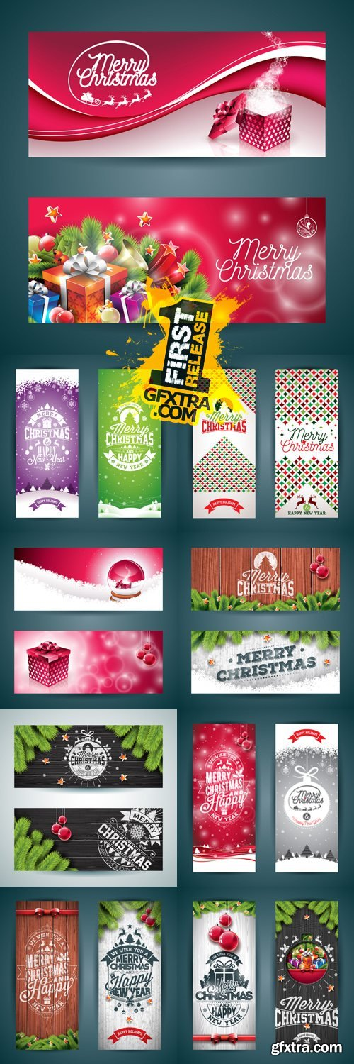 Christmas & New Year 2017 Banners Vector
