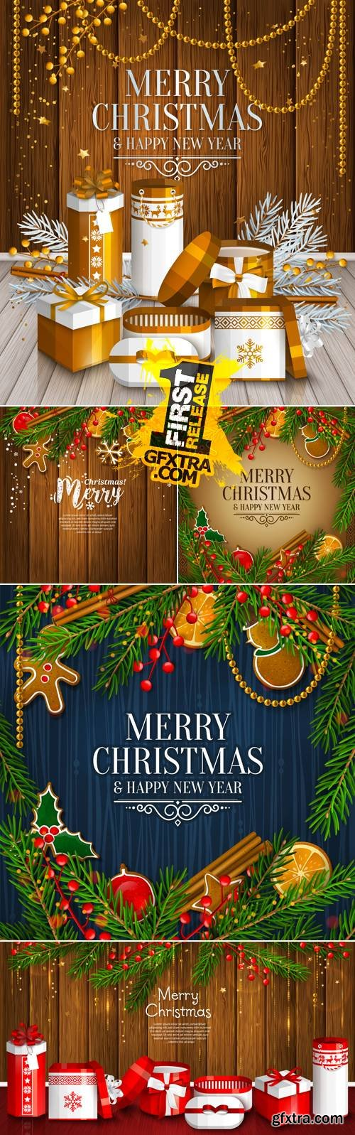 Christmas & New Year 2017 Cards Vector