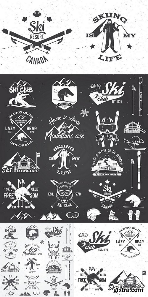 Ski club design. Vector illustration