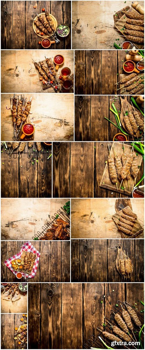 Kebab and garnish - 27xUHQ JPEG Photo Stock