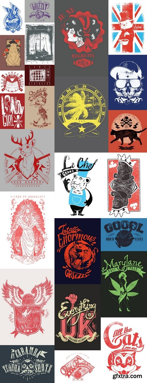 Design T-shirts, logos, brands, abstract vector Vintage vector style 7