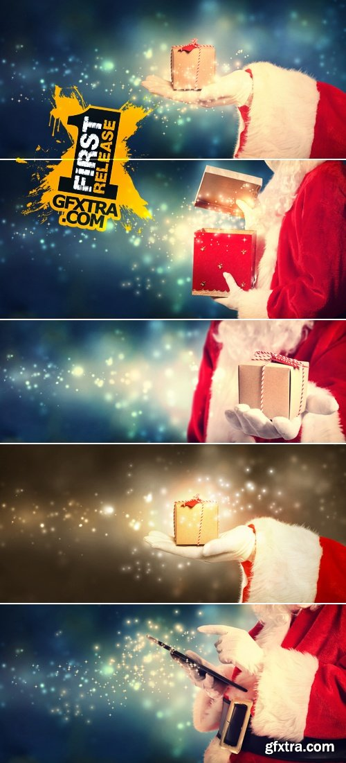 Stock Photo - Santa Claus holding Gift