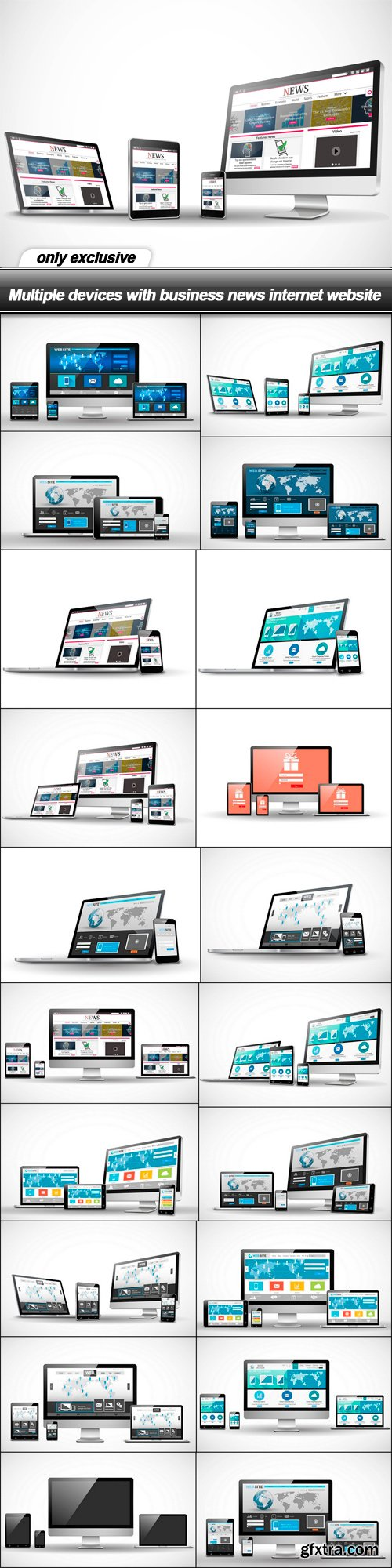 Multiple devices with business news internet website - 21 EPS