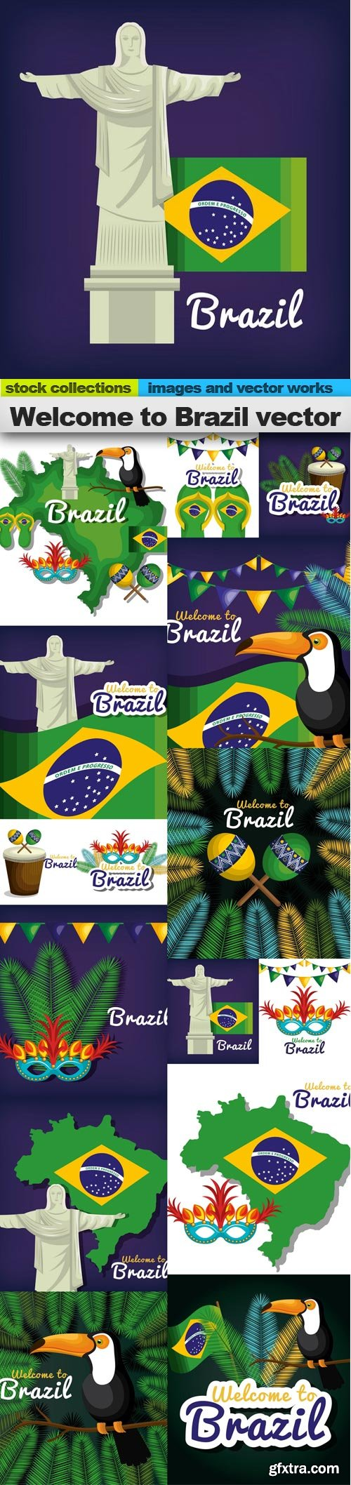 Welcome to Brazil vector, 15 x EPS
