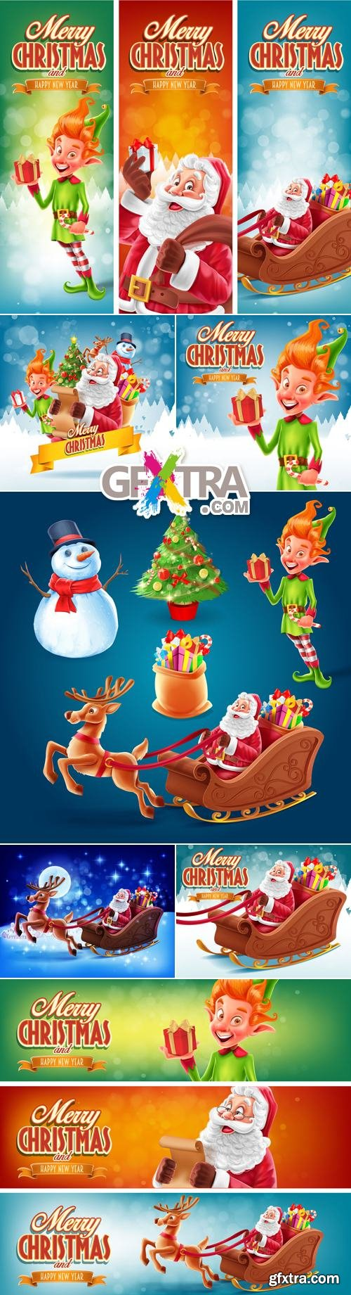 Christmas Backgrounds & Banners Vector