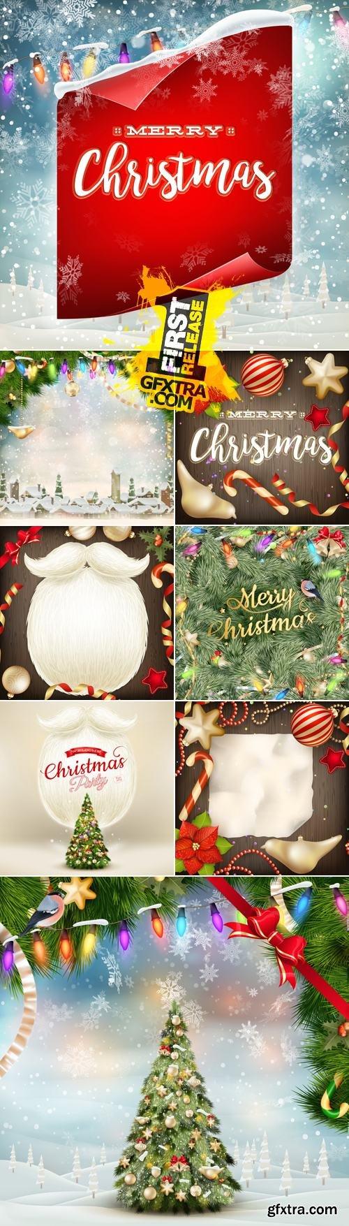 Merry Christmas Cards Vector 8