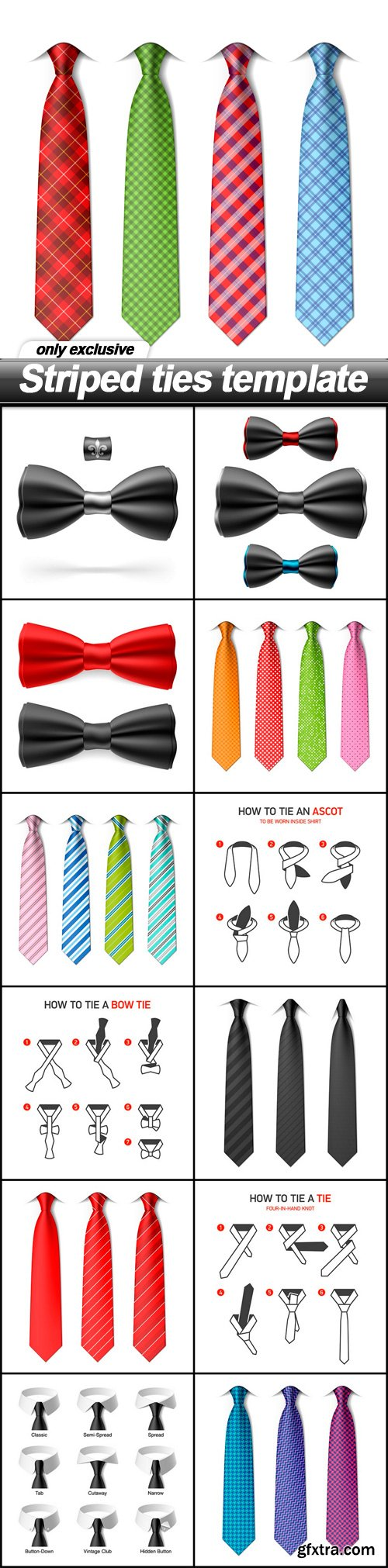 Striped ties template - 13 EPS