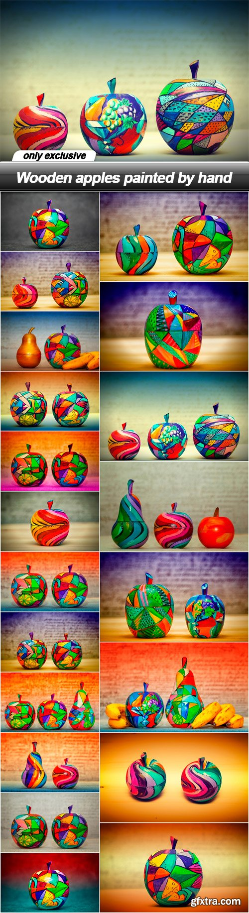 Wooden apples painted by hand - 20 UHQ JPEG