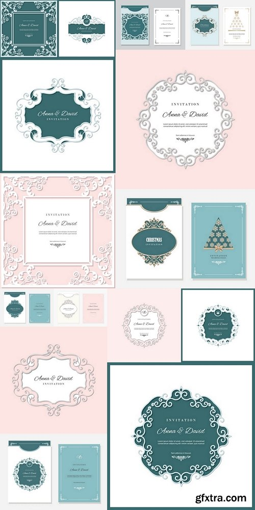 Wedding invitation card template with laser cutting frame