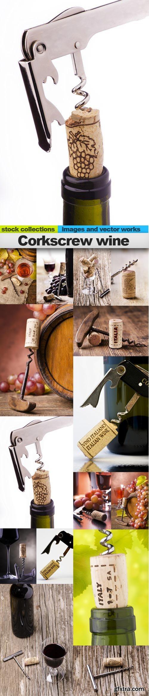 Corkscrew wine, 15 x UHQ JPEG