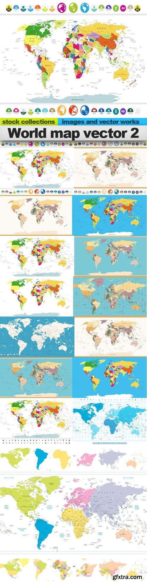 World map vector 2, 15 x EPS