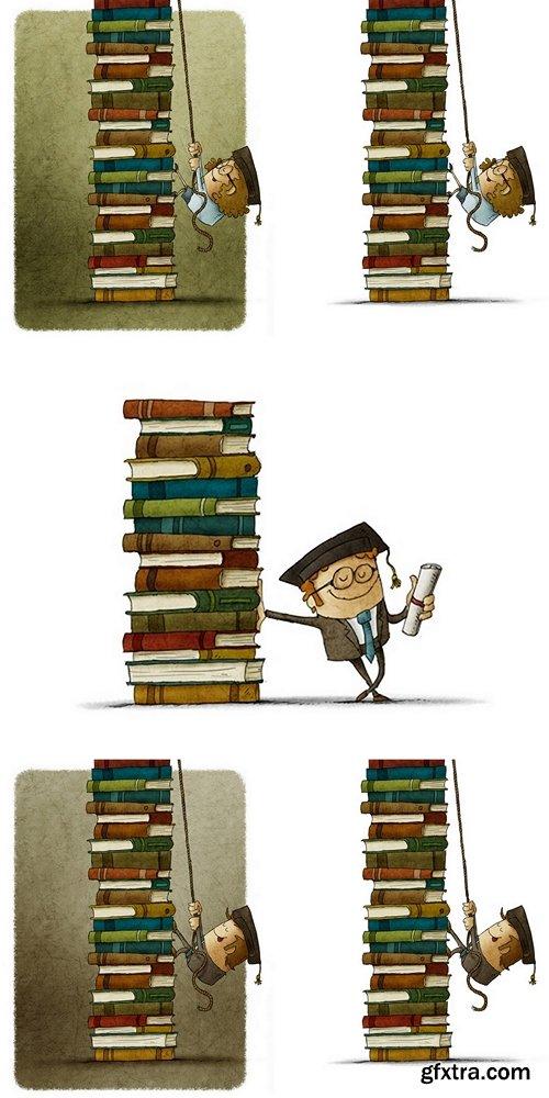 Сlimbing a pile of books