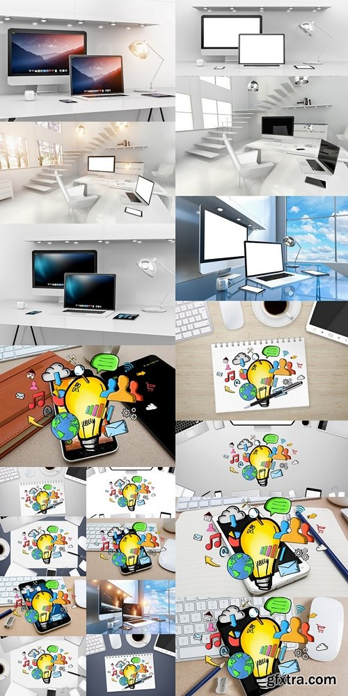 Modern white desk interior with computer and devices 3D renderin