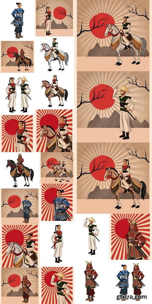 Samurai man cartoon icon. Japan and asian culture theme 2