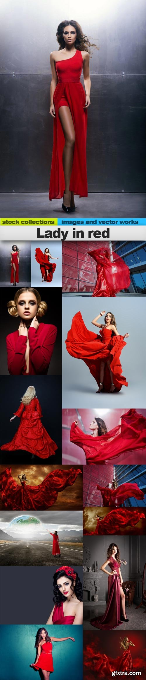 Lady in red, 15 x UHQ JPEG