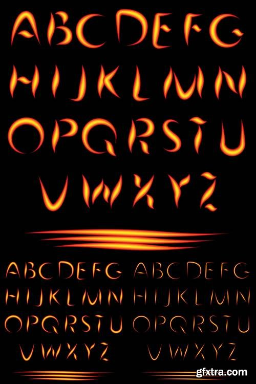 Fire Letters - Burning Font - Glowing Alphabet