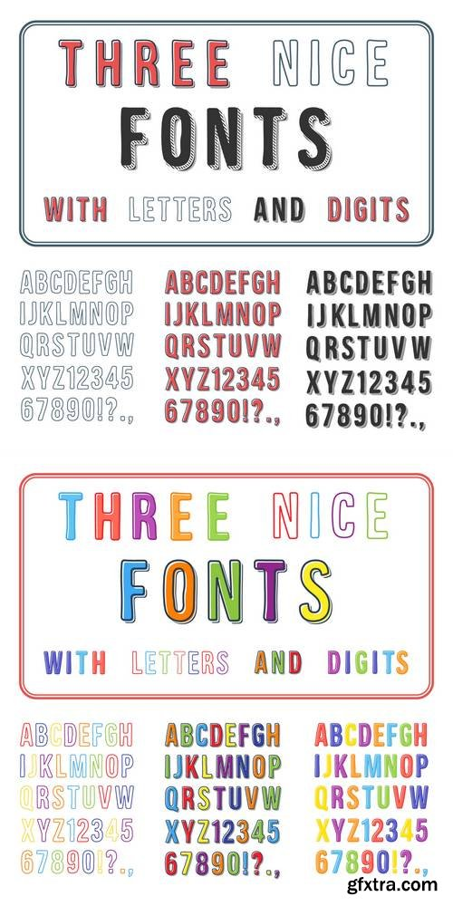 Hand Drawn Font Set - Handwriting Alphabet - ABC with Digits