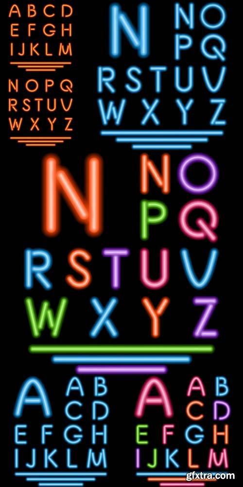 Neon Tube Letters - Multicolor Glowing Font