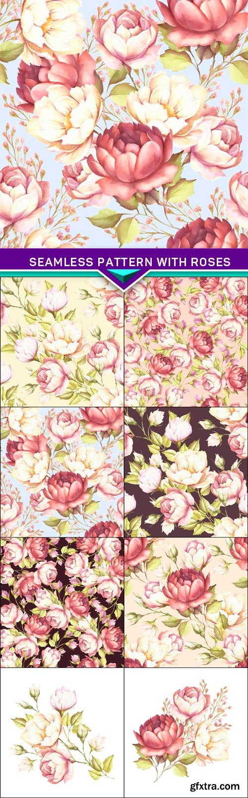 Seamless pattern with flower roses 8X JPEG