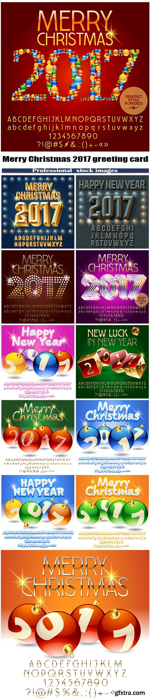 Merry Christmas 2017 greeting card with set of letters, symbols and numbers