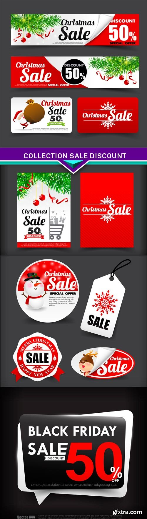 Collection of merry christmas santa, sale discount 4X EPS