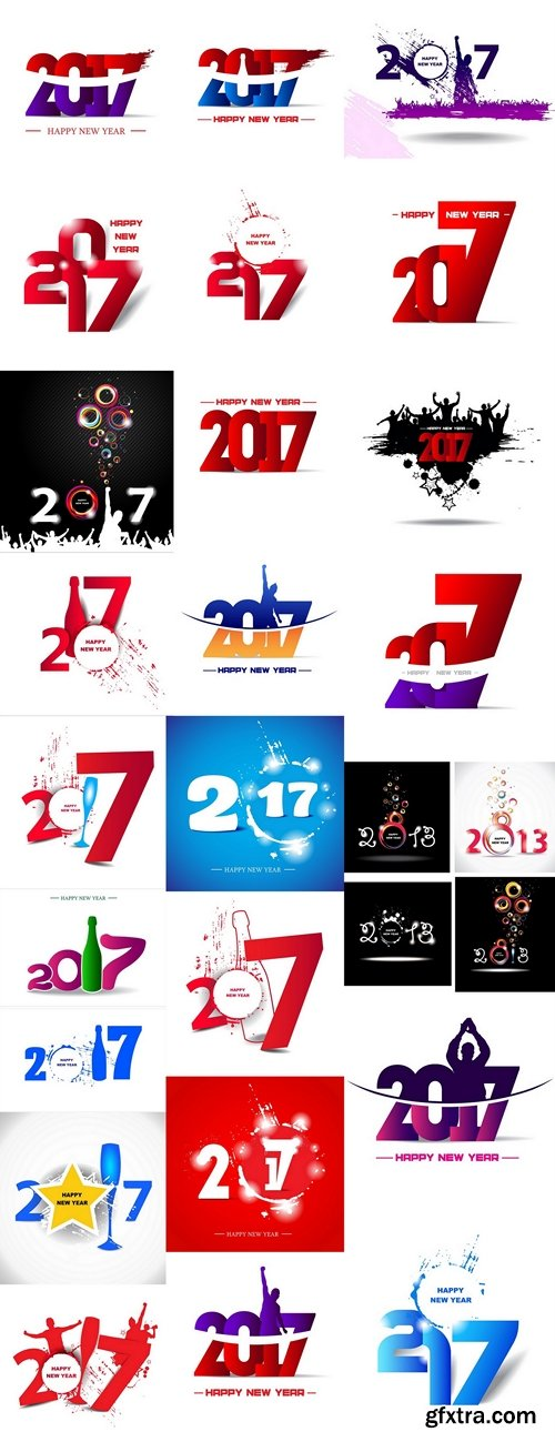 Abstract poster. New year 2017 in white background