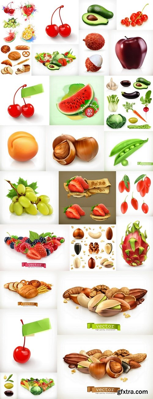 Whole and pieces. Sweet fruit. 3d vector icons set. Realistic illustration
