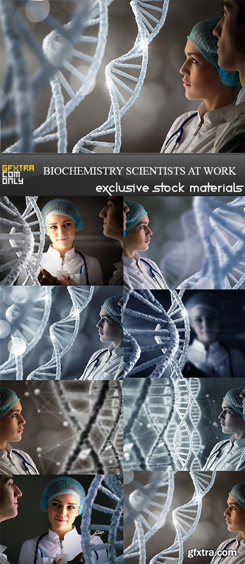 Biochemistry scientists at work, 8 x UHQ JPEG