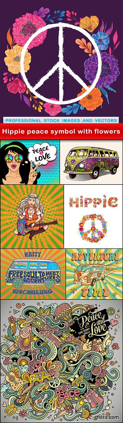 Hippie peace symbol with flowers - 8 EPS