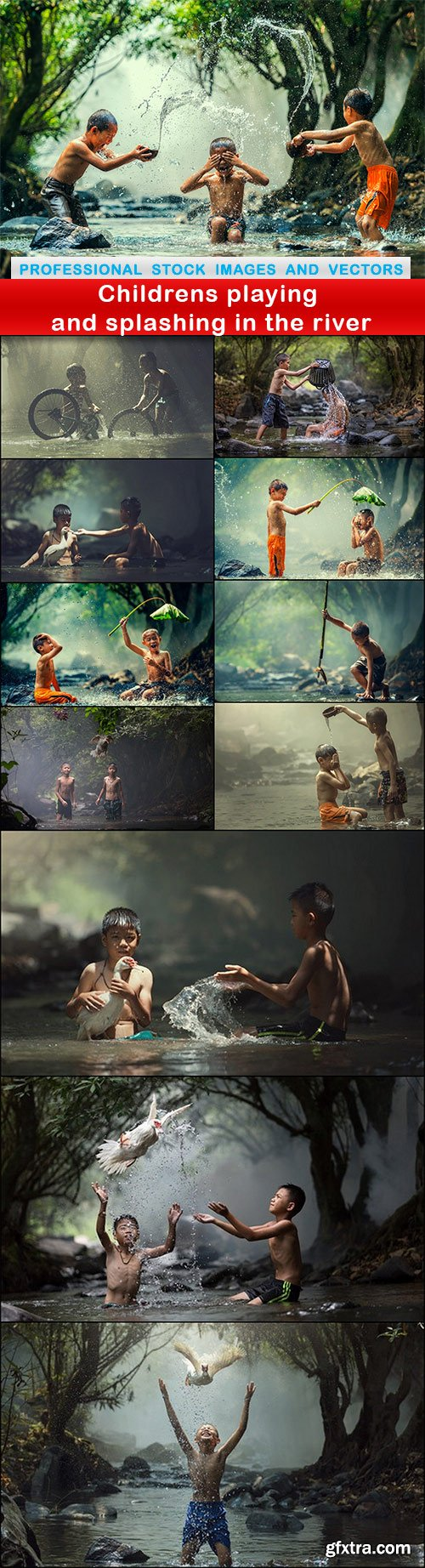 Childrens playing and splashing in the river - 12 UHQ JPEG
