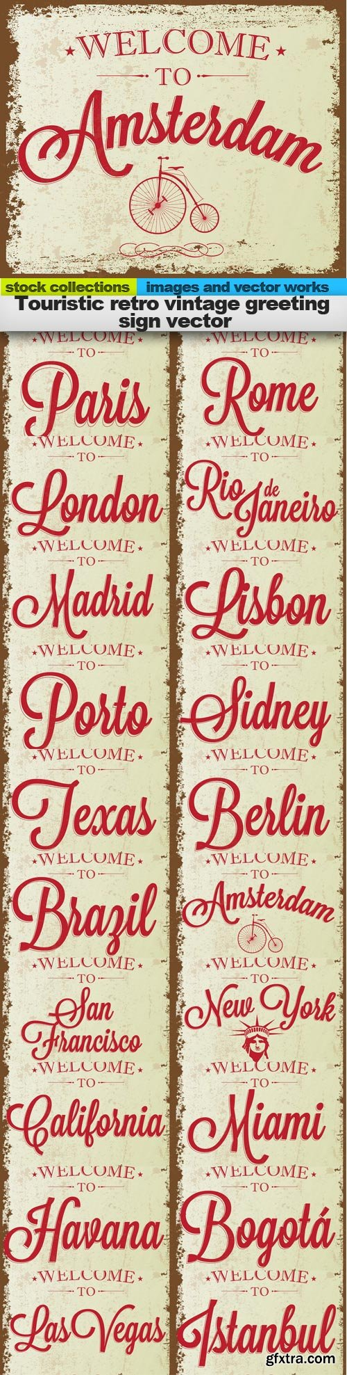 Touristic retro vintage greeting sign vector, 20 x EPS