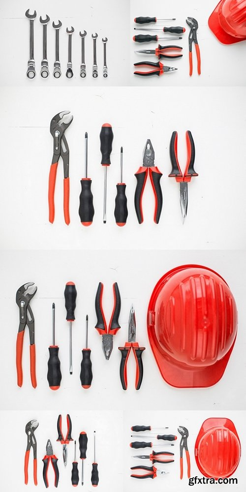 Hand tools and safety helmet knolling