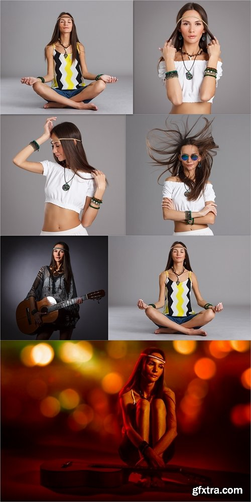 Young woman sitting in a yoga pose. Hippie style