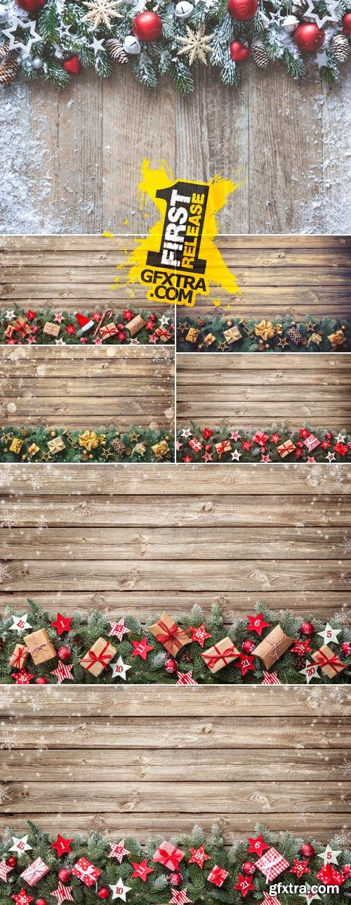 Stock Photo - Christmas Decorations on Wooden Background 14
