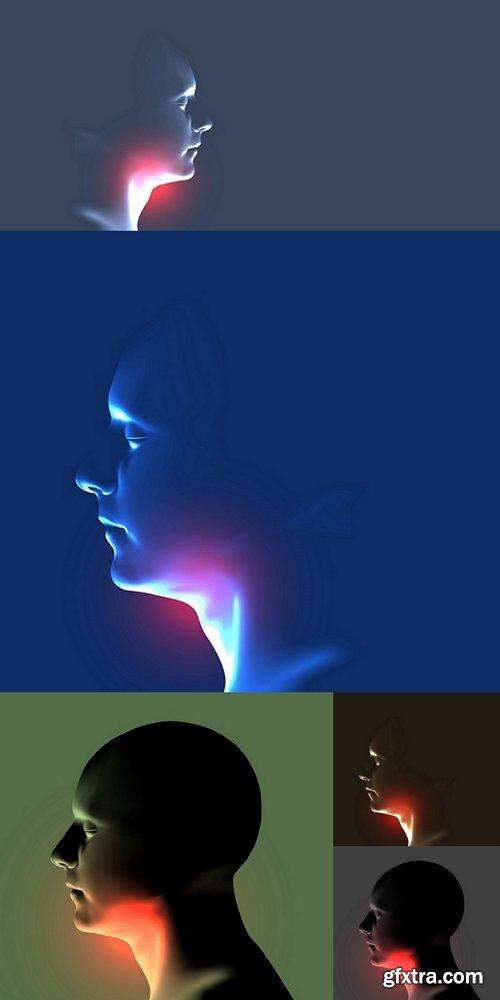 Laryngitis vector illustration. Human throat irritation