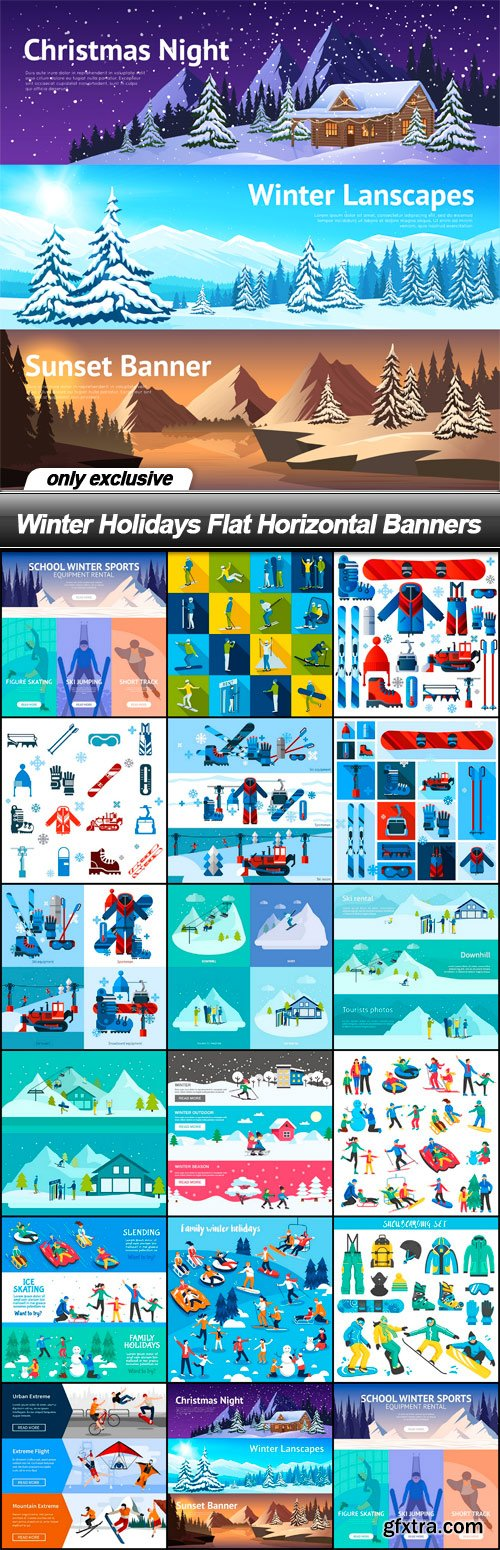 Winter Holidays Flat Horizontal Banners - 17 EPS